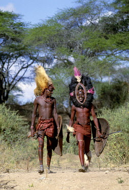 KEN4194 Kenya, Kajiado, lpartimaro. Two Maasai warriors in full regalia.  The headress of the man on the left is made from the mane of a lion while the one on the right is fringed with black ostrich feathers....