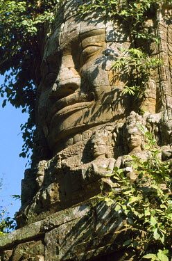 CMB0105 Detail of carved faces at Baray temple.