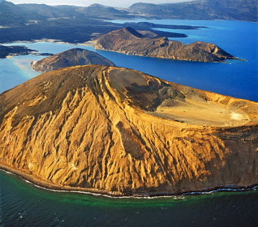 DJI1025 An aerial view of the caldera Sisale K�ma, which is 3,937 feet in diameter and 300,000 years old. It is situated at the inlet of Ghoubbet el Khar�b (the Devil�s Throat), a region of high seismic activ...