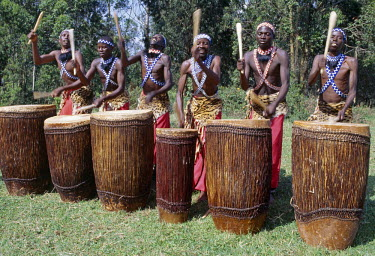 RW1075 Intore drummers perform at Butare..  In the days of the monarchy in Rwanda, Intore dancers were an integral part of the Royal Court. Today, several groups perform nationally and internationally. Their...
