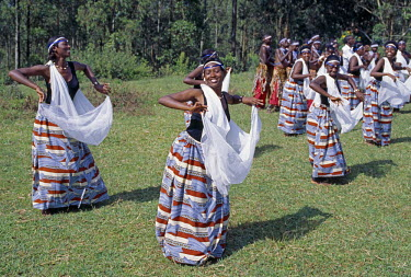 RW1066 Intore dancers perform at Butare.  In the days of the monarchy in Rwanda, Intore dancers performed at the Royal Court. Today, several groups perform nationally and internationally. Their rhythm, movem...