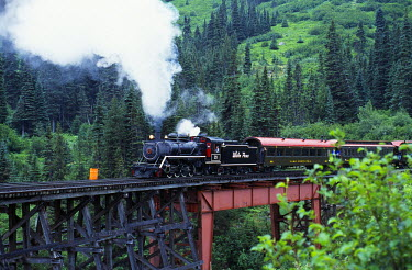 USA4993 White Pass steam train commemorating the Ton of Gold from Dawson to Seattle on the line between Bennett and Skagway
