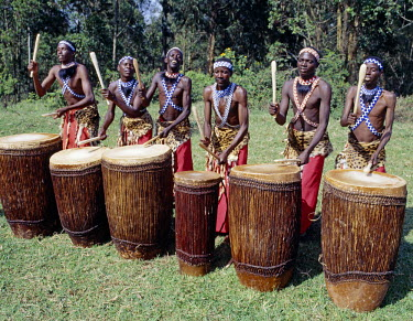 RW1097 Intore drummers perform at Butare.In the days of the monarchy in Rwanda, Intore dancers were an integral part of the Royal Court. Today, several groups perform nationally and internationally. Their r...