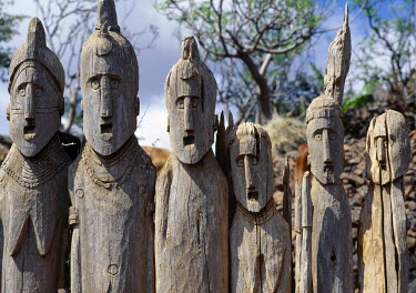 ETH1209 The Konso people of southwest Ethiopia worship the sky God, Waq, and place carved wooden effigies at prominent places to honour their illustrious ancestors. These eerie totems are often found grouped...