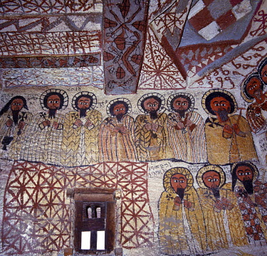 ETH1070 Fine murals decorate the interior of the rock-hewn church of Yohannes Maequddi, a two-hour walk from Degum on a plateau of the Gheralta Mountains east of Debretsion. The access to the church is along...