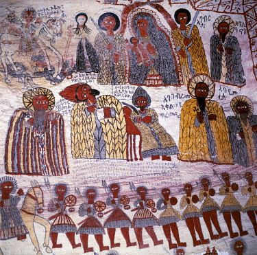 ETH1069 Fine murals decorate the interior of the rock-hewn church of Yohannes Maequddi, a two-hour walk from Degum on a plateau of the Gheralta Mountains east of Debretsion. The access to the church is along...