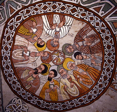 ETH1060 The rock-hewn church of Abune Yemata in the Gheralta Mountains near Guh is renowned for its truly remarkable murals.  The fifteenth-century mural on its domed ceiling depicts nine of the twelve apostl...