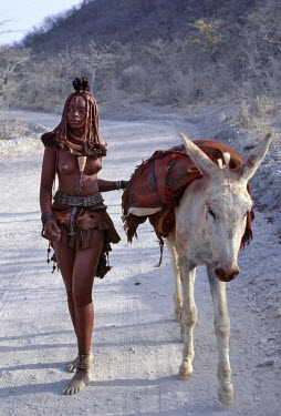 NAM3078 After visiting a market centre, a young Himba woman drives home her donkey along dusty white tracks.  Her body gleams from a mixture of red ochre, butterfat and herbs. Her long hair is styled in the t...