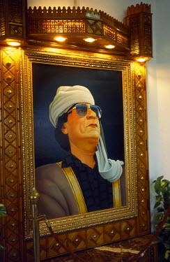 LIB1125 Portrait of the Libyan leader, Colonel Gaddafi, in a hotel in  Tripoli