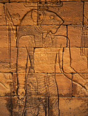 SUD1023 A carving of Apademak, the Lion God, on an exterior wall of the ruins of the Lion Temple situated beside an important wadi at Naga some 30 km from the Nile. This site of four ancient temples, discover...