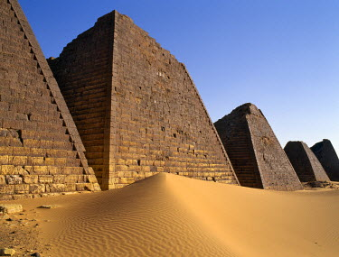SUD1044 Situated a short distance east of the Nile, the ancient pyramids of Meroe are an important burial ground of thirty kings, eight queens and three princes of the Kingdom of Cush who reigned during the A...