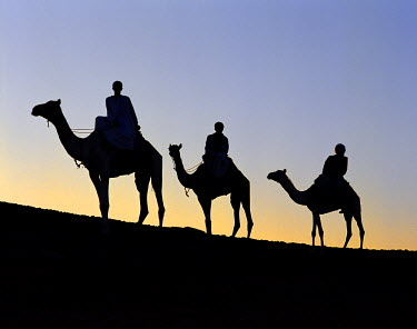 SUD1054 Three camel riders silhouetted against an evening sky.