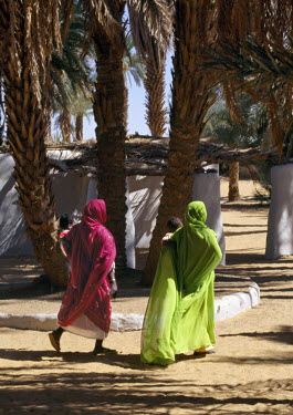 SUD1139 Nubian women in colourful attire walk beneath date palms at Old Dongola.