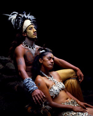 CHI8054 Rapanui man and woman, Singa Miguel Angel and Uri Francesca Avaka, in traditional costume at Te Pahu caves (MR)