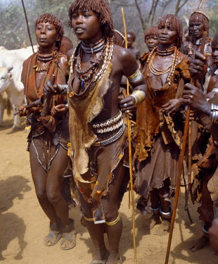 Hamar women dance, sing and blow small tin trumpets during a 'Jumping of the Bull' ceremony. The semi-nomadic Hamar of Southwest Ethiopia embrace an age-grade system that includes several rites of pa...