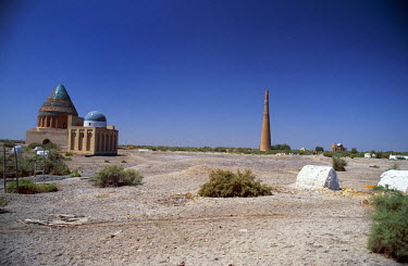 TKM1010 View acros the ruined site of Gurganj (Kunja Urgench), former capital of Khorezm.  Seven times destroyed and seven times rebuilt is the legend attached to Gurganj.  Gurganj was the name given to the t...