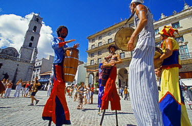 Los Zancudos. Stilt dancers in old Havana World Heritage Area, Cuba