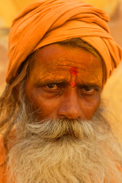 Sadhu, a religous holy man, sitting outisde of fort in Jaipur, Rajasthan,