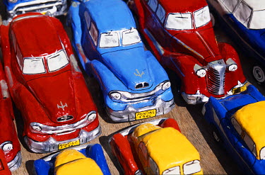 Handicraft market and classic car models for sale in World Heritage town of Trinidad, Eastern Cuba