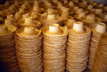 ECU1065 Detail of Panama hats in production, Cuenca, Azuay Province, Ecuador