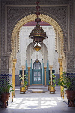 MOR1597 The interior of the Mahakma du Pasha in the Quartier Habous or New Medina in Casablanca. The building was once a palace and law courts but is now a police prefecture. It has over 60 rooms decorated wi...
