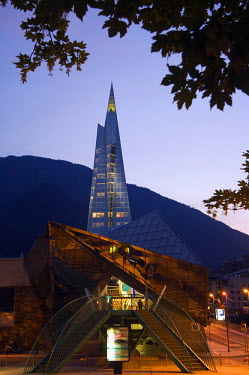 AND1008 Andorra La Vella Hot Spring Complex Caldea lit up in the evening