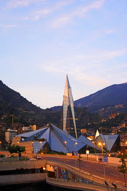 AND1007 Andorra La Vella Hot Spring Complex Caldea lit up in the evening