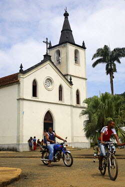 SAO1055 The church of Santa Antonio (Saint Anthony) in the town of Santa Antonio on the island of Princip�. Sao Tom� and Princip� is Africa's second smallest country with a population of 193 000. It consists...