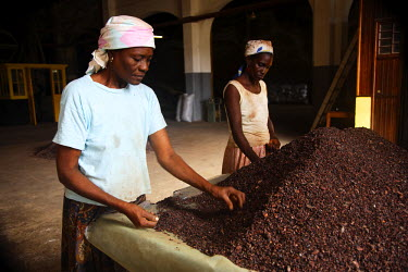 SAO1040 Two Sao Tomense women sort through cocoa beans at the cocoa plant in the village of Agua Iz̩. Cocoa is the country's principle export. Chocolate originating from cocoa beans in Sao Tome is now being...
