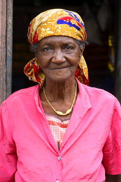 SAO1037 A sao Tomense woman who arrived in Sao Tome when she was fifteen years old to work on a cocoa plantation during Portuguese rule. Sao Tome and Principe is Africa's second smallest country with a popula...