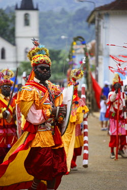 SAO1018 Actors perform a play called Ferrabras - the play is an annual event and is performed in Santa Antonio, Princip�s only town, in August. Sao Tom� and Princip� is Africa's second smallest country with a...