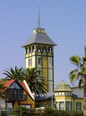 NAM3643 Fine old buildings in Swakopmund depicts the architecture of this seaside town on Namibia's windswept Atlantic coast. The place has a distinctly Teutonic flavour, reflecting the country's colonial pas...