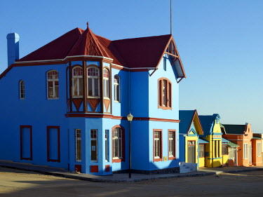 NAM3617 A street of well preserved German colonial houses in Luderitz.  Luderitz is a fascinating old German town, a colonial relic, trapped between the barren, windswept Namib Desert and the South Atlantic S...