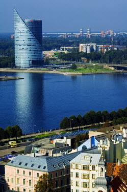 LAT1039 Hansa Bank Headquarters the Saules Akmens building on the River Daugava