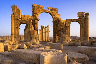 The spectacular ruined city of Palmyra, Syria. The city was at its height in the 3rd century AD but fell into decline when the Romans captured Queen Zenobia after she declared independence from Rome i...