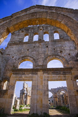 SY1174 The ruins of the Basilica of St Simeon Stylites the Elder in the hills near Aleppo. St Simeon stood on top of a pillar for 30 years until his death in 459AD. The Basilica was built around the pillar,...