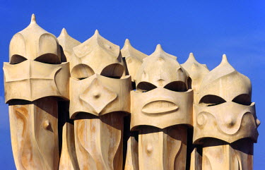 SPA2973 The surreal chimneys of Antoni Gaudi's architectural icon, Casa Mila in Barcelona. Known as La Pedrera (the Quarry), the builiding was built from 1905 to 1911 and declared a UNESCO World Heritage Site...