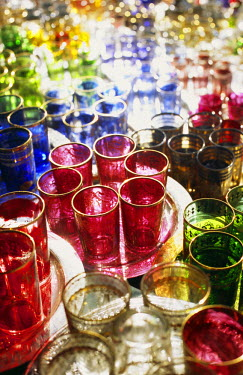 MOR1769 Colourful Moroccan glassware in the souqs of Marrakesh