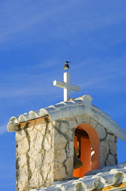 BAH1058 The bell tower on Little Whale Cay's rustic chapel