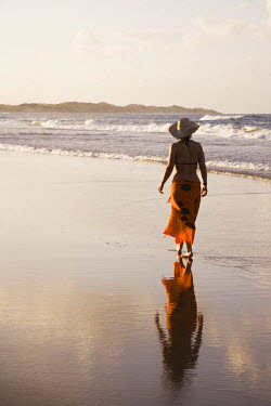Young woman on Tofo Beach near Inhambane in southern Mozambique. (MR)