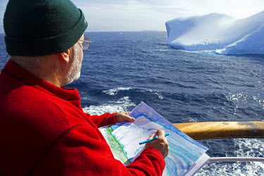 Antarctica, Antarctic Penisula, Antarctic Sound. Sailing through the sound otherwise known as Iceberg Alley Australian artist Noel Miller captures the scene. (MR)