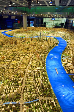 CH2053 China, Shanghai. Shanghai Urban Planning and Expo 2010 Exhibition Hall - scale plan of the Shanghai of the future.