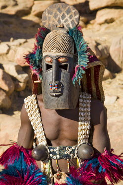 MAL0533 Mali, Dogon Country, Tereli. A masked dancer wearing coconut shell breasts performs at the Dogon village of Tereli. Tereli is situated among rocks at the base of the spectacular 120-mile-long Bandiaga...
