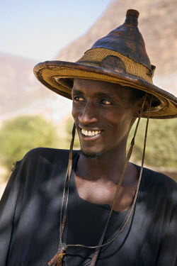 Mali, Mopti. A Fulani man wearing a traditional hat. The Fulani are predominantly pastoral people scattered over many parts of West Africa.