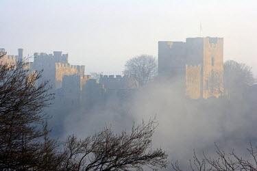 ENG8906 England, Shropshire, Ludlow Castle.  Viewed from Whitcliffe Common, Ludlow Castle, firstly a Norman Fortress and extended over the centuries to become a fortified Royal Palace, has ensured Ludlow's pl...