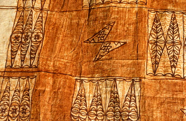 PAC1060 Pacific Islands, Kingdom of Tonga. Detail of design and motifs on Tapa Cloth. Bark cloth, or tapa, has been produced throughout the islands of the South Pacific--in both Polynesia and Melanesia. The p...