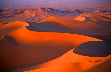 NIG1365 Niger, Sahara, Tenere Desert. Sand Dunes of the Tenere Desert. This is the largest protected area in Africa, covering over 7.7 million hectares. It includes the volcanic massif of the Air Mountains, a...