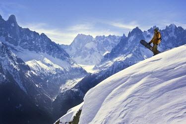 FRA6486 A snowboarder at La Flegere, Chamonix