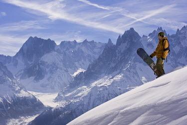 FRA6487 A snowboarder at La Flegere, Chamonix