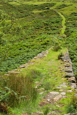 WAL6840 Wales, Conwy, Snowdonia. An old disused tramway runs down from the derelict slate quarries and copper mines alongside the Watkin Path one of the routes up Snowdon.